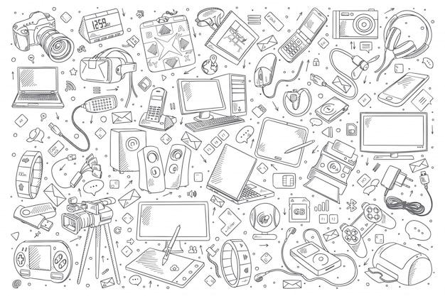 Gadgets doodle conjunto Vetor Premium