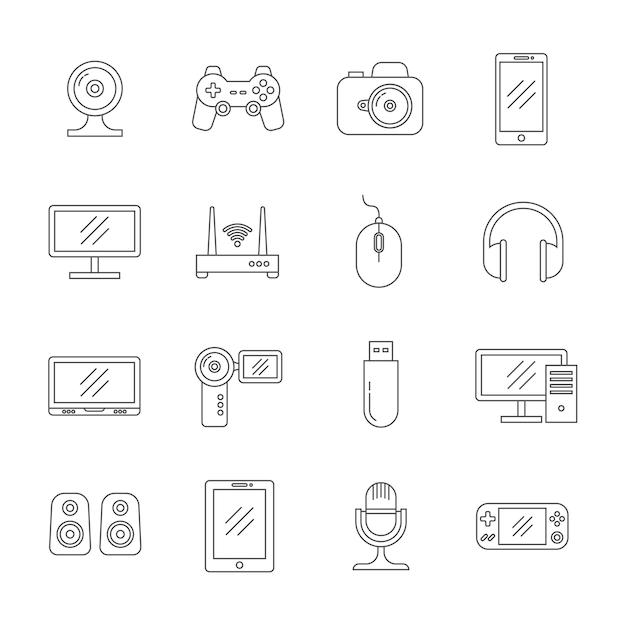 Gadgets e ícones de linha fina de tecnologia de computador Vetor Premium