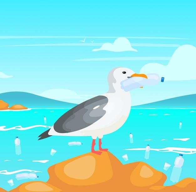 Gaivota com ilustração de garrafa de plástico. danos à natureza. catástrofe ecológica. poluição plástica no problema oceânico. pássaro segurando no personagem de desenho animado de recipiente descartável de bico Vetor Premium