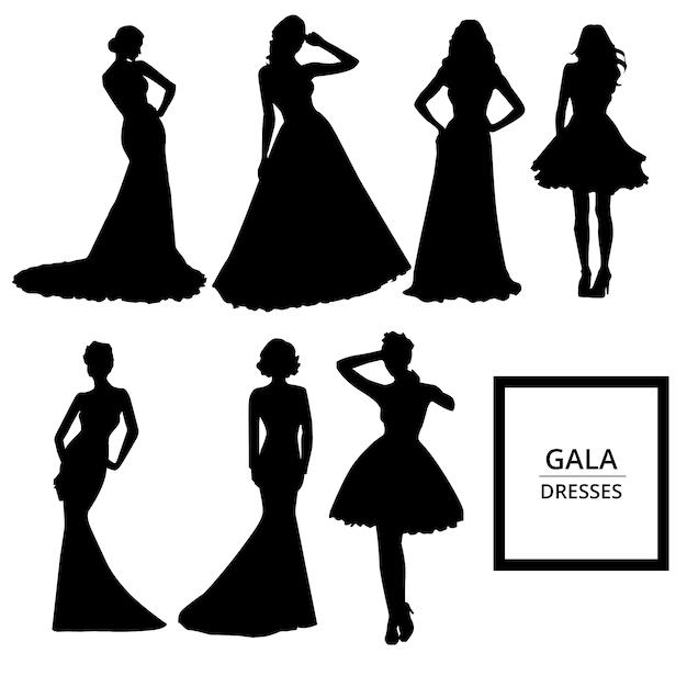 96294e98e Gala vestidos silhuetas Vetor grátis
