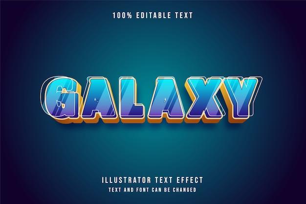 Galáxia, 3d efeito de texto editável gradação azul estilo roxo amarelo Vetor Premium
