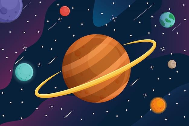 Galáxia com planetas dos desenhos animados no fundo do espaço Vetor Premium