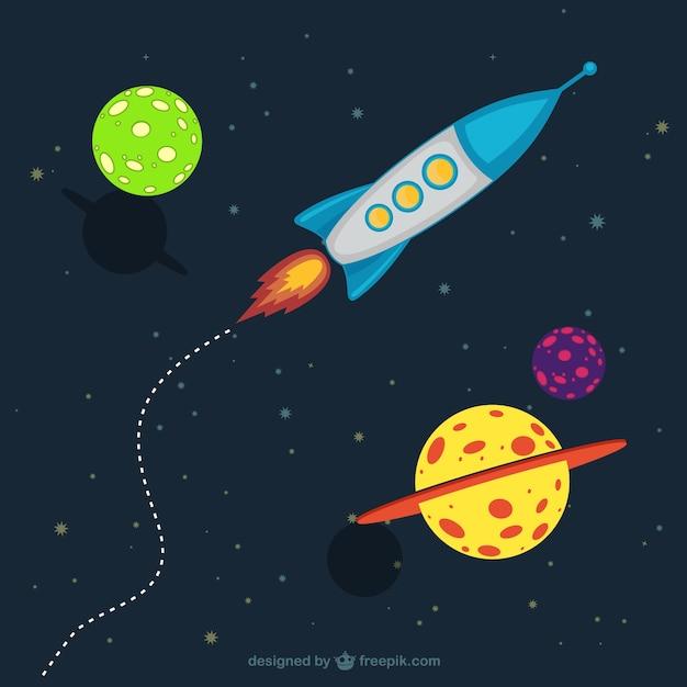 Galaxia Dos Desenhos Animados Com Uma Nave Espacial Vetor Premium