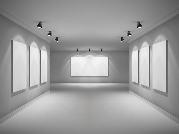 Galeria interior realista Vetor grátis
