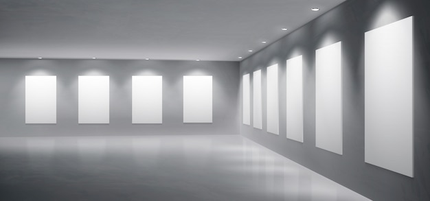 Galeria, vetor realista de museu exposição salão Vetor grátis
