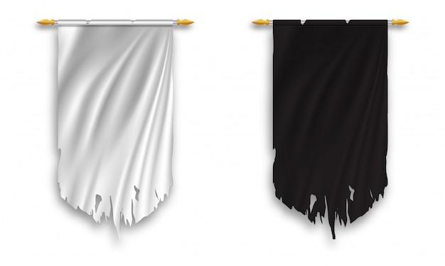 Galhardete de parede preto e branco enforcado Vetor Premium