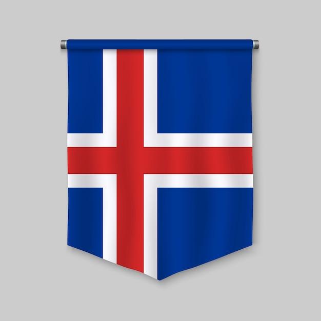 Galhardete realista 3d com bandeira da islândia Vetor Premium