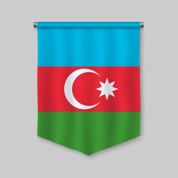 Galhardete realista 3d com bandeira do azerbaijão Vetor Premium