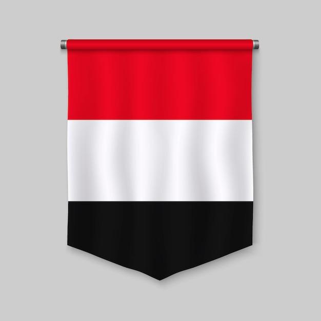 Galhardete realista 3d com bandeira do iémen Vetor Premium