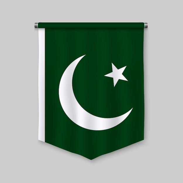 Galhardete realista 3d com bandeira do paquistão Vetor Premium
