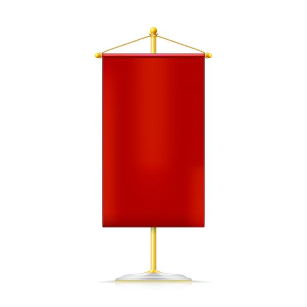 Galhardete vertical vermelho com cordão de ouro pendurado no suporte dourado Vetor Premium