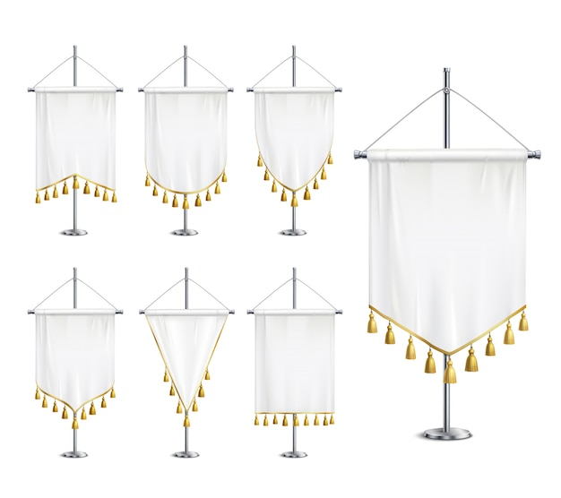 Galhardetes em branco branco de várias formas com franja de borla dourada no conjunto realista de pedestal de pináculo de aço Vetor grátis