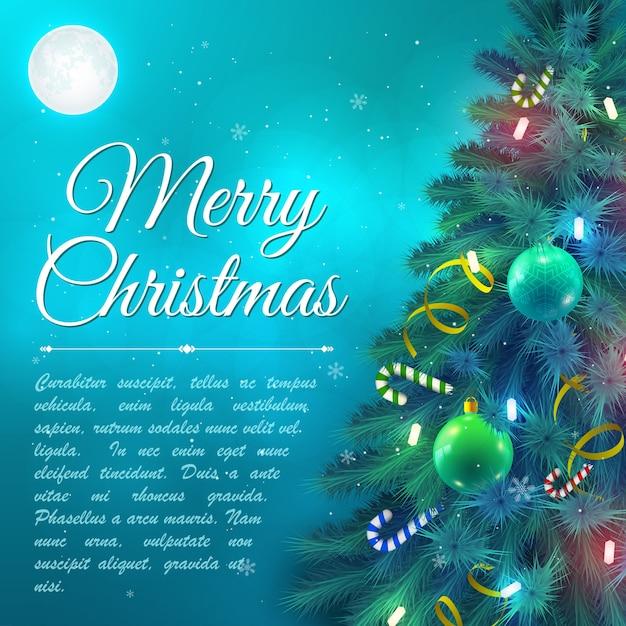 Galhos de árvores de natal decorados com enfeites e bastões de doces no fundo com ilustração vetorial plana de lua Vetor Premium