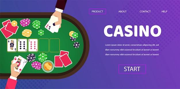 Gambling table casino jogador homem croupier mãos Vetor Premium