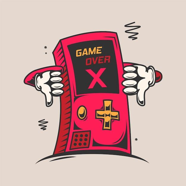 Game over cartoon ilustração Vetor Premium