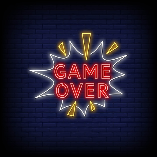 Game over neon signs Vetor Premium