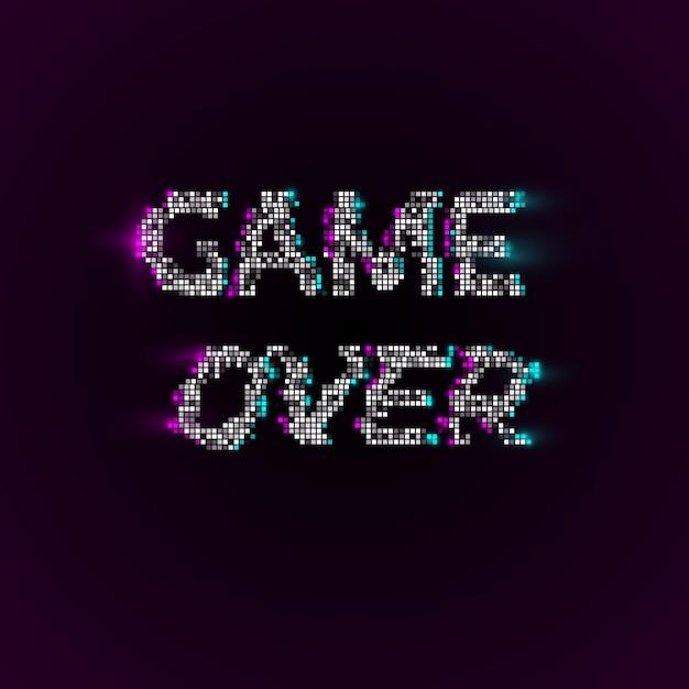 Game over no estilo pixel art Vetor Premium