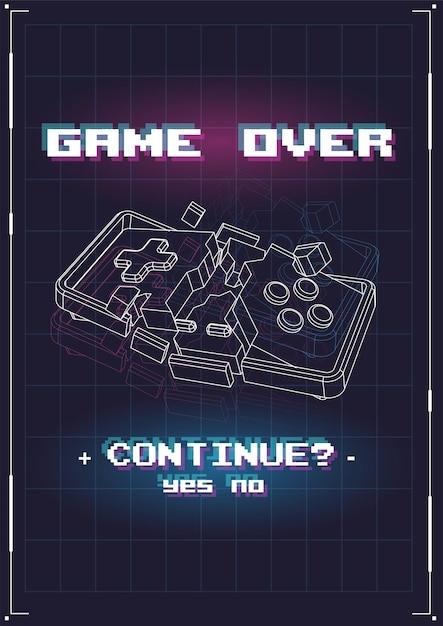 Game over poster com elementos lowpoly. Vetor Premium