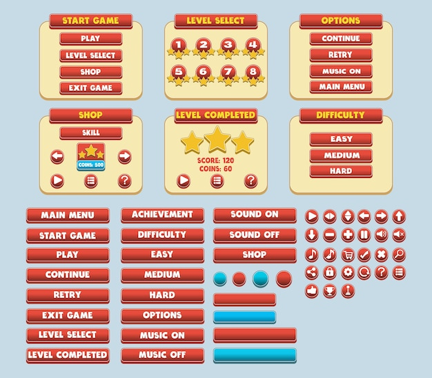 Game simple flat gui pack Vetor Premium