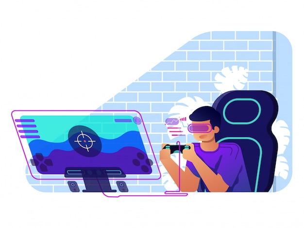 Gamer ilustração conceito plana ilustração Vetor Premium