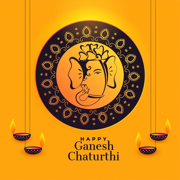 Ganesha artístico do senhor para o festival do chaturthi do ganesh Vetor grátis