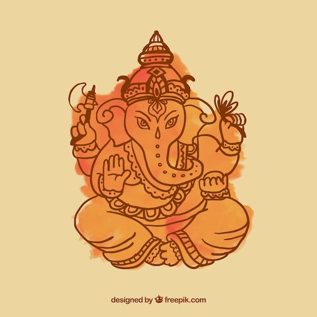Ganesha watercolor Vetor grátis