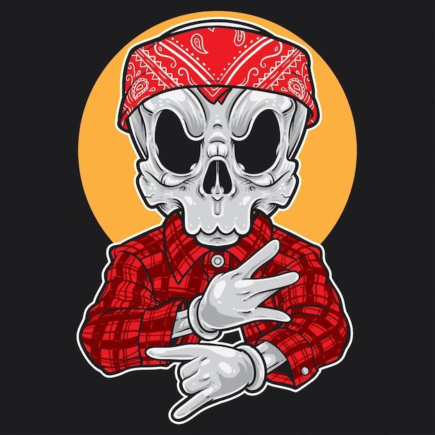 Gangsta dos desenhos animados do crânio Vetor Premium
