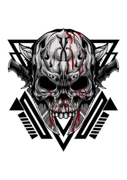 Gangster do crânio Vetor Premium