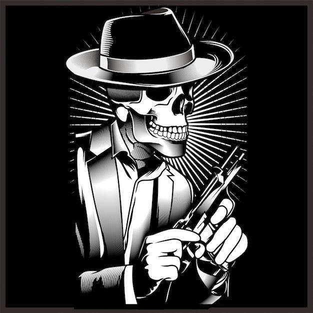 Gangster esqueleto com revólveres no terno. Vetor Premium