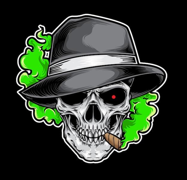 Gangster fumado do crânio Vetor Premium