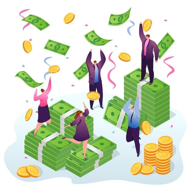 Ganhando dinheiro, empresários ganham e pegando dólares e moedas de ouro sob a chuva de dinheiro. vencedores da fortuna, sucesso em finanças e investimentos empresariais. riqueza e riqueza. Vetor Premium