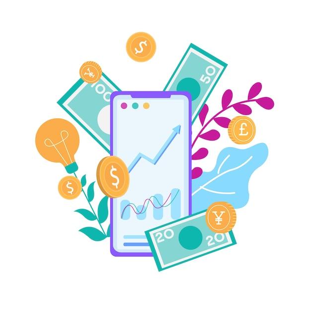 Ganhar dinheiro online no banner de publicidade do smartphone Vetor Premium