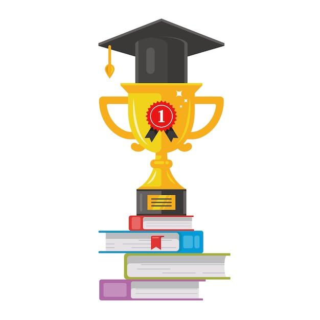 Ganhar taça de ouro com um chapéu está nos livros. recompensa honesta. ilustração em vetor plana classe graduação Vetor Premium