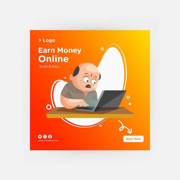 Ganhe dinheiro online banner design para mídia social Vetor Premium