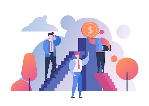 Ganhe o conceito de dinheiro, negócios, pessoas, sucesso e fortuna financeira. feliz empresário na escada para dinheiro, riqueza. crescimento profissional e finanças, renda ou ganhos. Vetor Premium
