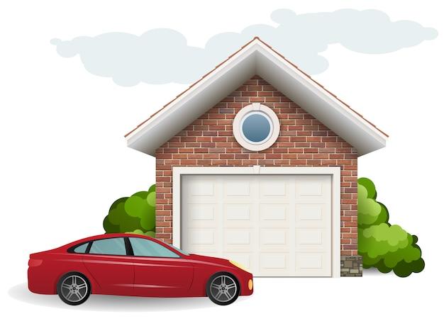 Garagem de tijolos e carros Vetor Premium