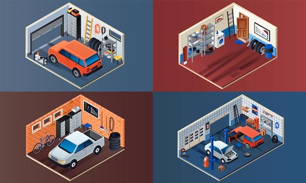 Garagem interior ilustração conjunto. conjunto isométrico de interior de garagem Vetor Premium