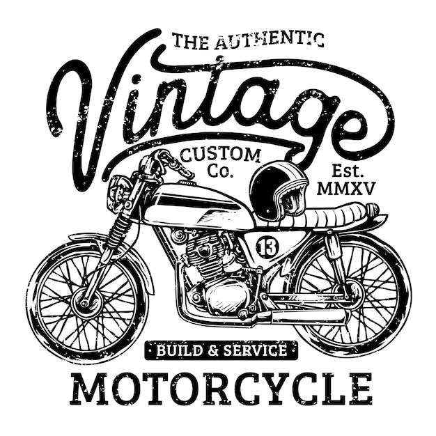 Garagem personalizada da motocicleta do vintage Vetor Premium