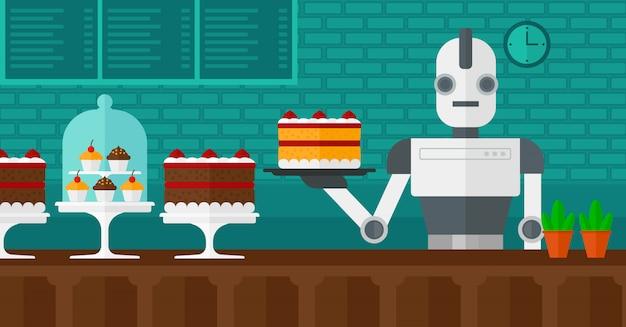 Garçom de robô trabalhando na pastelaria. Vetor Premium