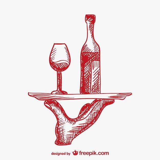 Garçom mão que serve bebidas vetor Vetor Premium