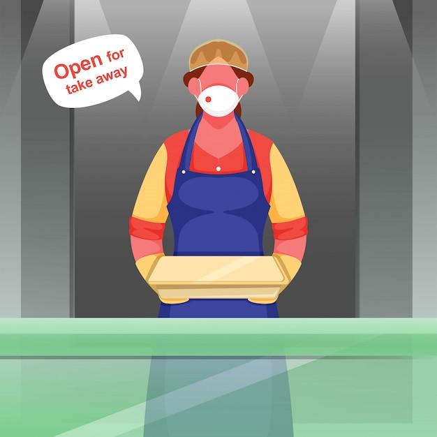 Garçom mulher usar máscara protetora, luvas com pacote de exploração e aberto para tirar a mensagem durante o coronavírus. Vetor Premium