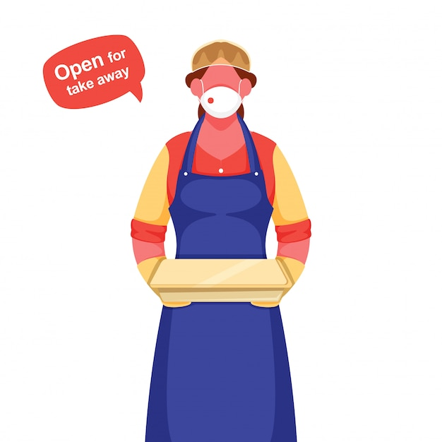 Garçom mulher usar máscara protetora, luvas com segurando o pacote e a mensagem aberta para levar embora durante o coronavírus. Vetor Premium
