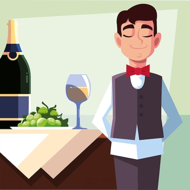 Garçom profissional, segurando a garrafa de vinho Vetor Premium