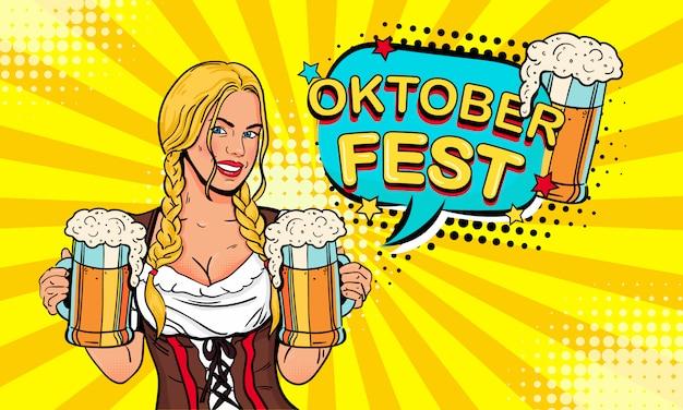 Garçonete garota carrega copos de cerveja e expressão balão com texto oktoberfest Vetor Premium