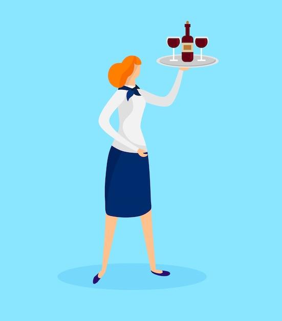 Garçonete garota segurando a bandeja com garrafa e copos Vetor Premium