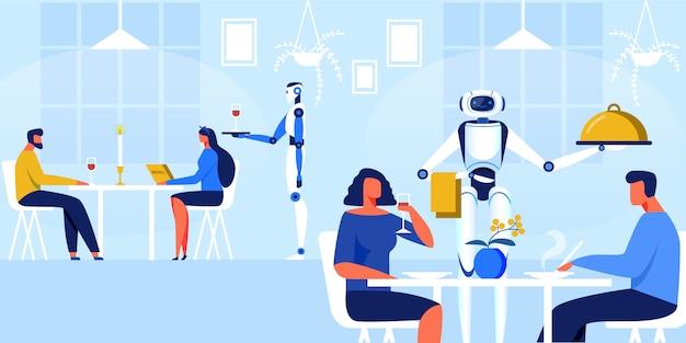 Garçons dos robôs na ilustração do vetor do restaurante. Vetor Premium