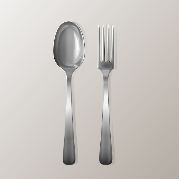 Garfo e colher realista. conjunto de utensílio inoxidável de cozinha de prata. Vetor grátis