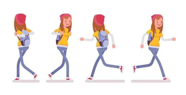 Garota adolescente em pose de caminhada e corrida Vetor Premium