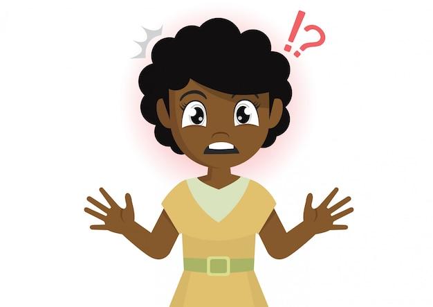 Garota africana fica em estado de choque. Vetor Premium