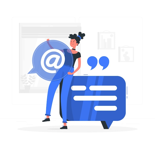 Garota azul com estilo simples de bolha do discurso Vetor grátis